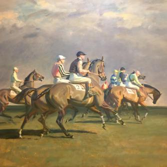 "Detail of ""At the Start"" by Sir Alfred J. Munnings"