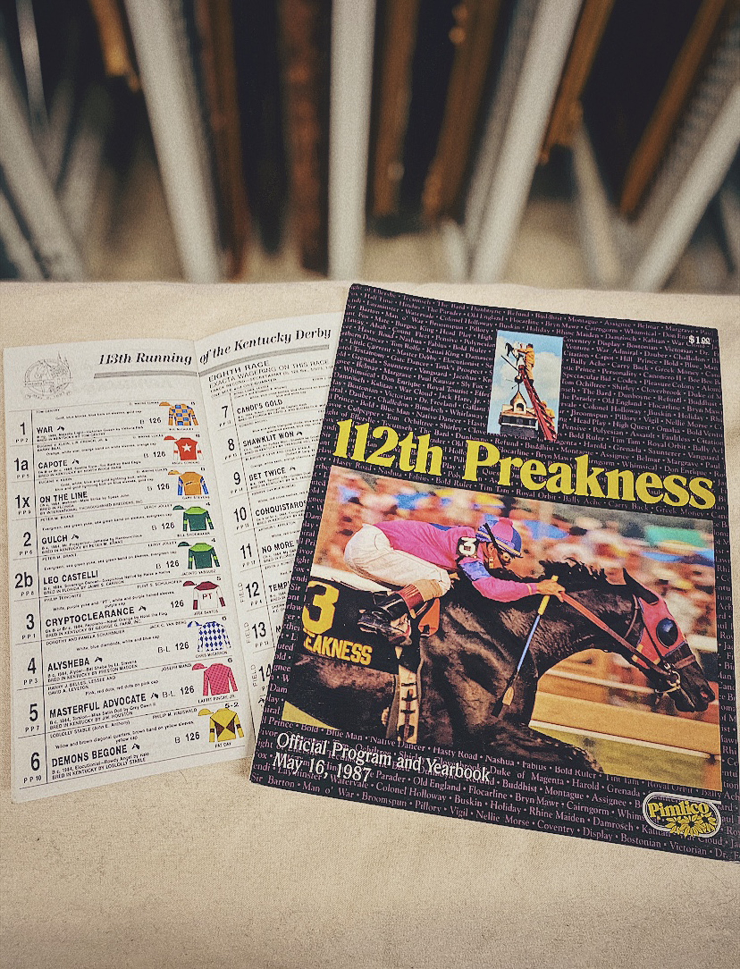 Program from the 1987 Kentucky Derby and Preakness, won by Alysheba