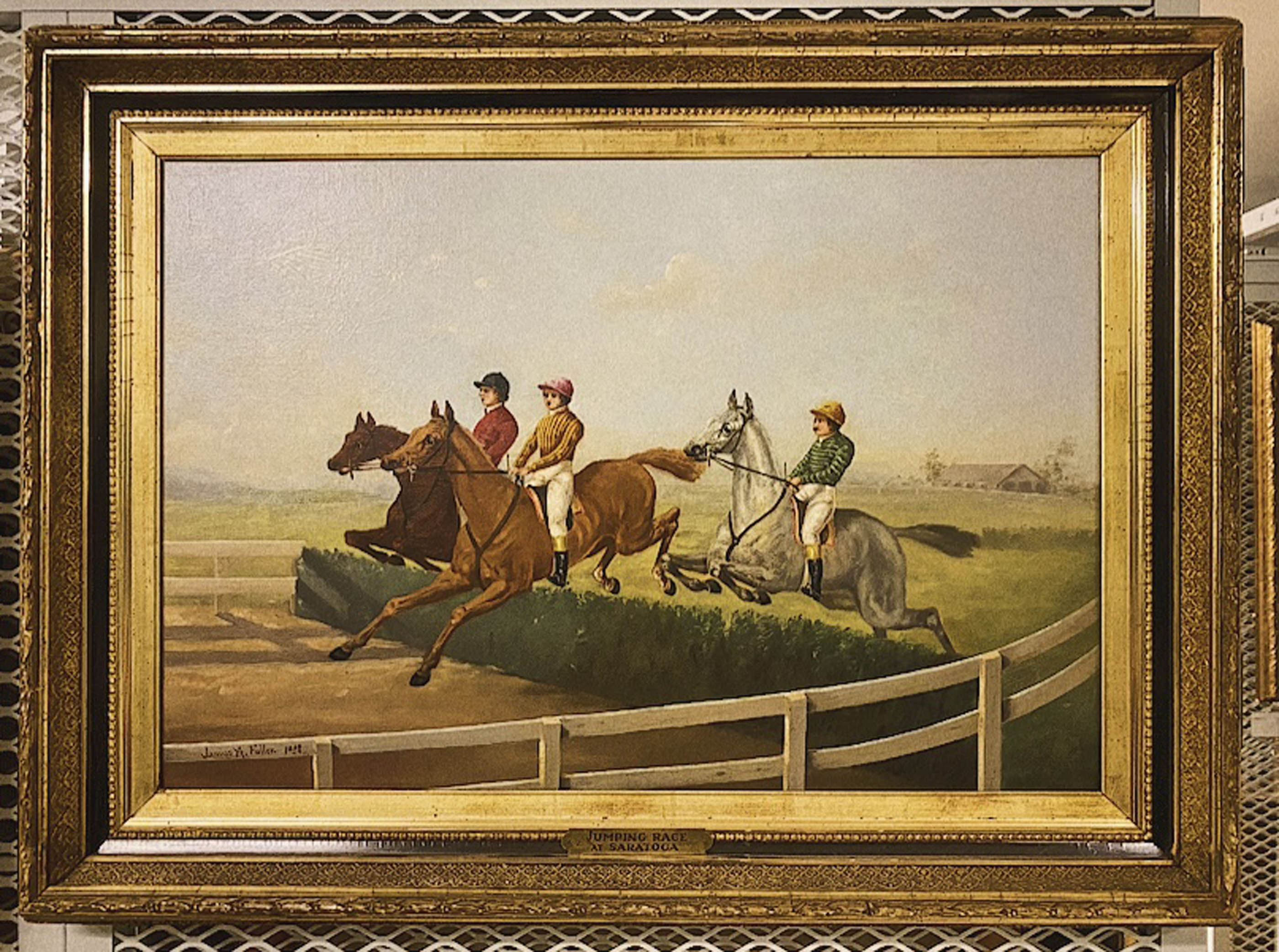 1955.50: Jumping Race at Saratoga by Junius A. Fuller, Oil on canvas, 1882, Gift: Jerome Sayles Hess