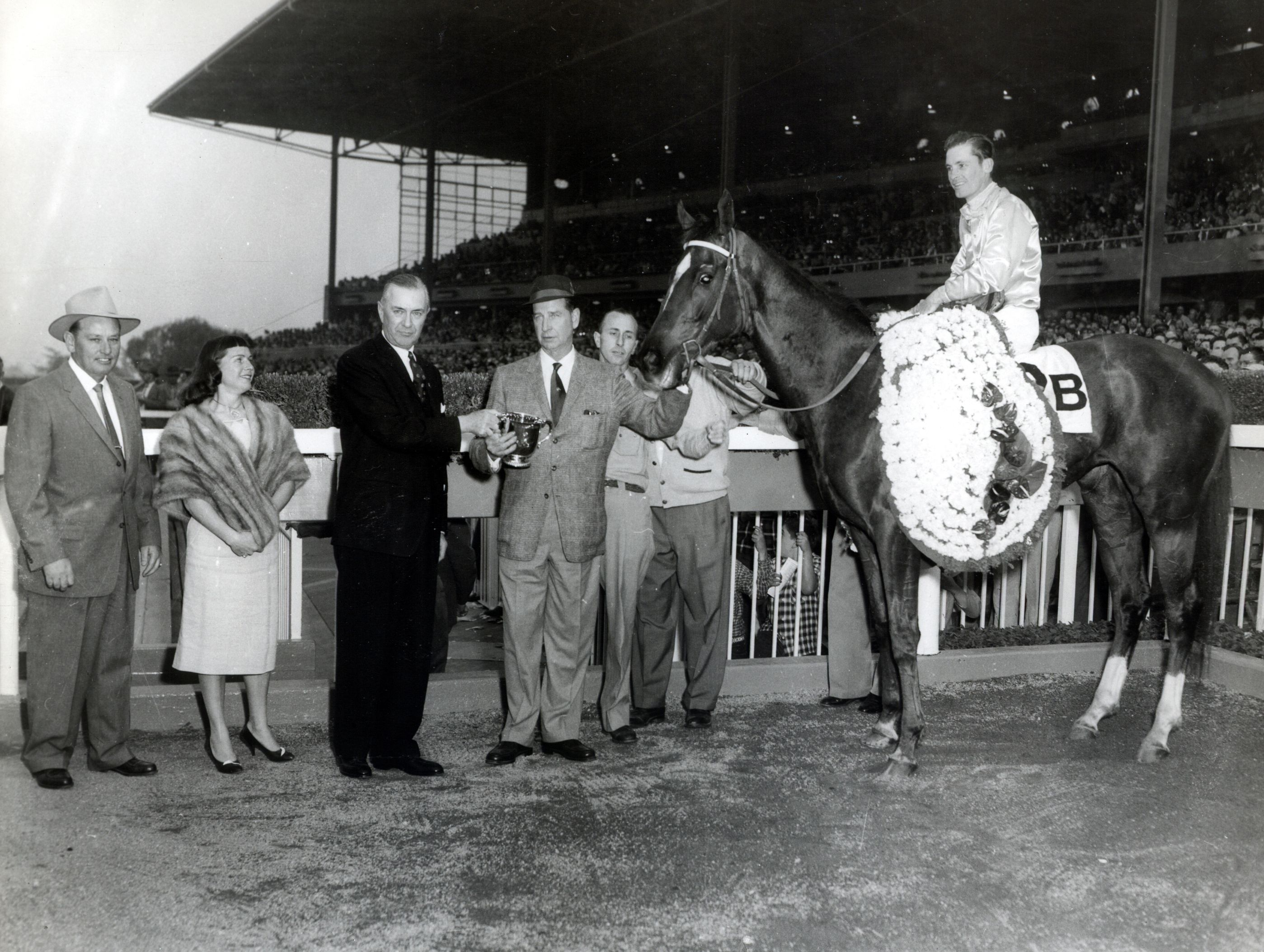 Silver Spoon (Raymond York up) in the winner's circle for the 1959 Santa Anita Derby (Museum Collection)
