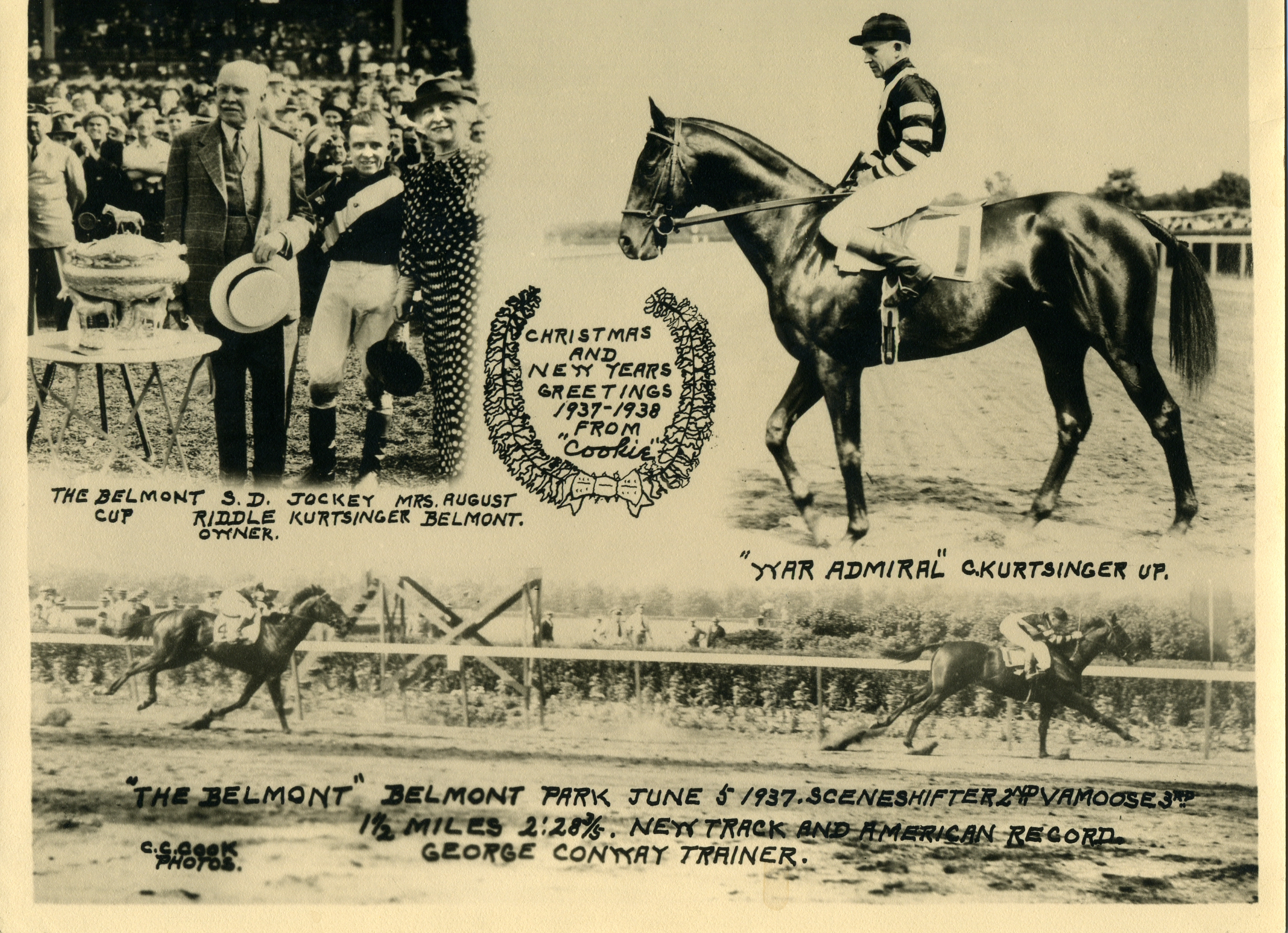 """The 1937 Belmont Stakes, won by War Admiral (Charles Kurtsinger up) featured in the annual """"Christmas Cookie"""" greeting card produced by photographer C. C. Cook (C. C. Cook/Museum Collection)"""