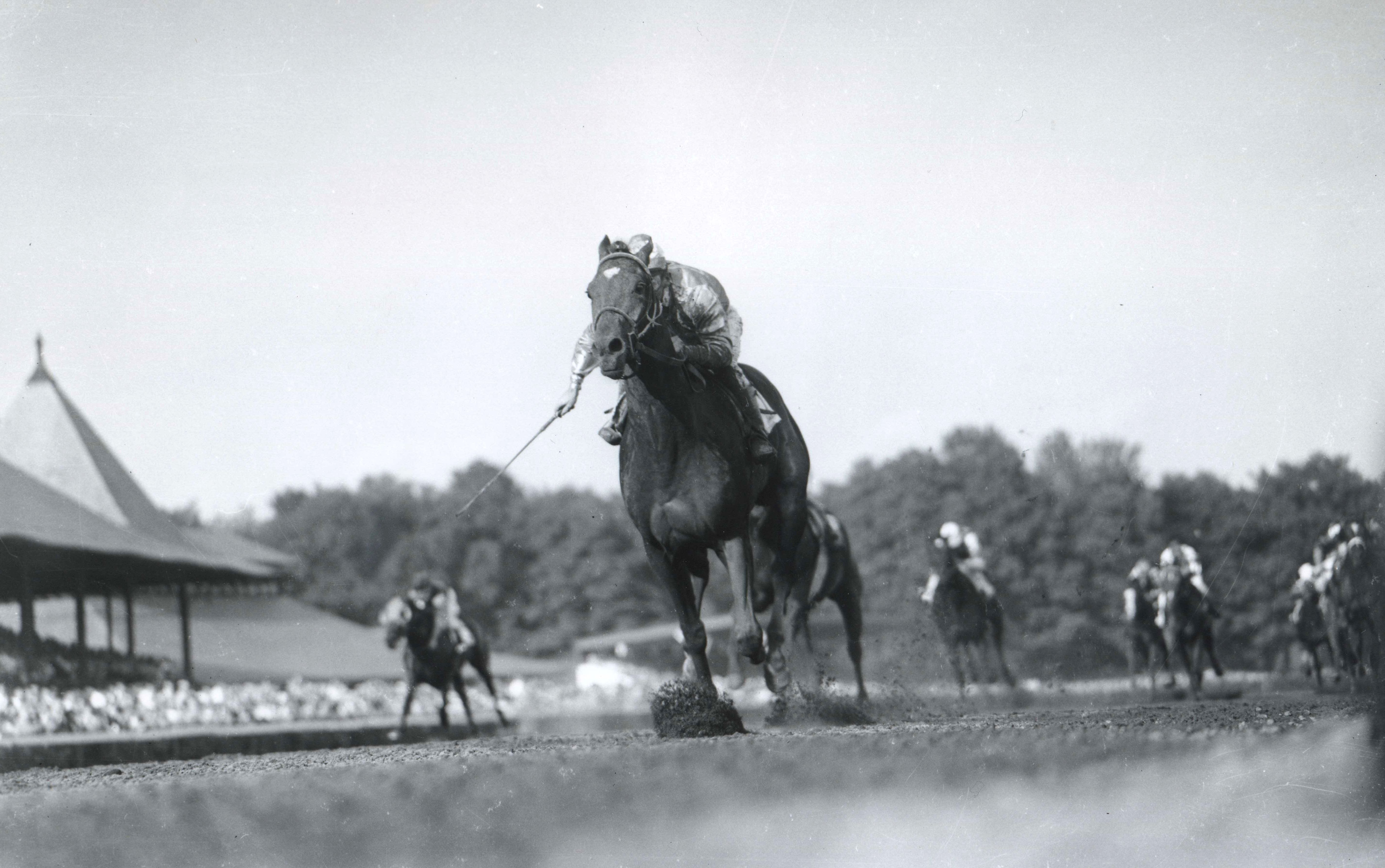 Needles (John Choquette up) winning the 1955 Hopeful Stakes at Saratoga Race Course (Keeneland Library Morgan Collection/Museum Collection)