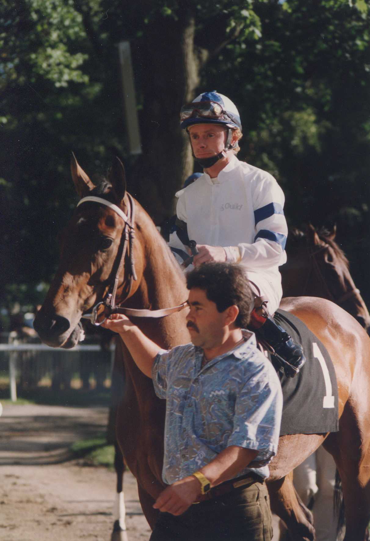 Paseana (Chris McCarron up) in the post parade for the 1993 Ruffian at Belmont Park (Barbara Ann Giove Coletta/Museum Collection)
