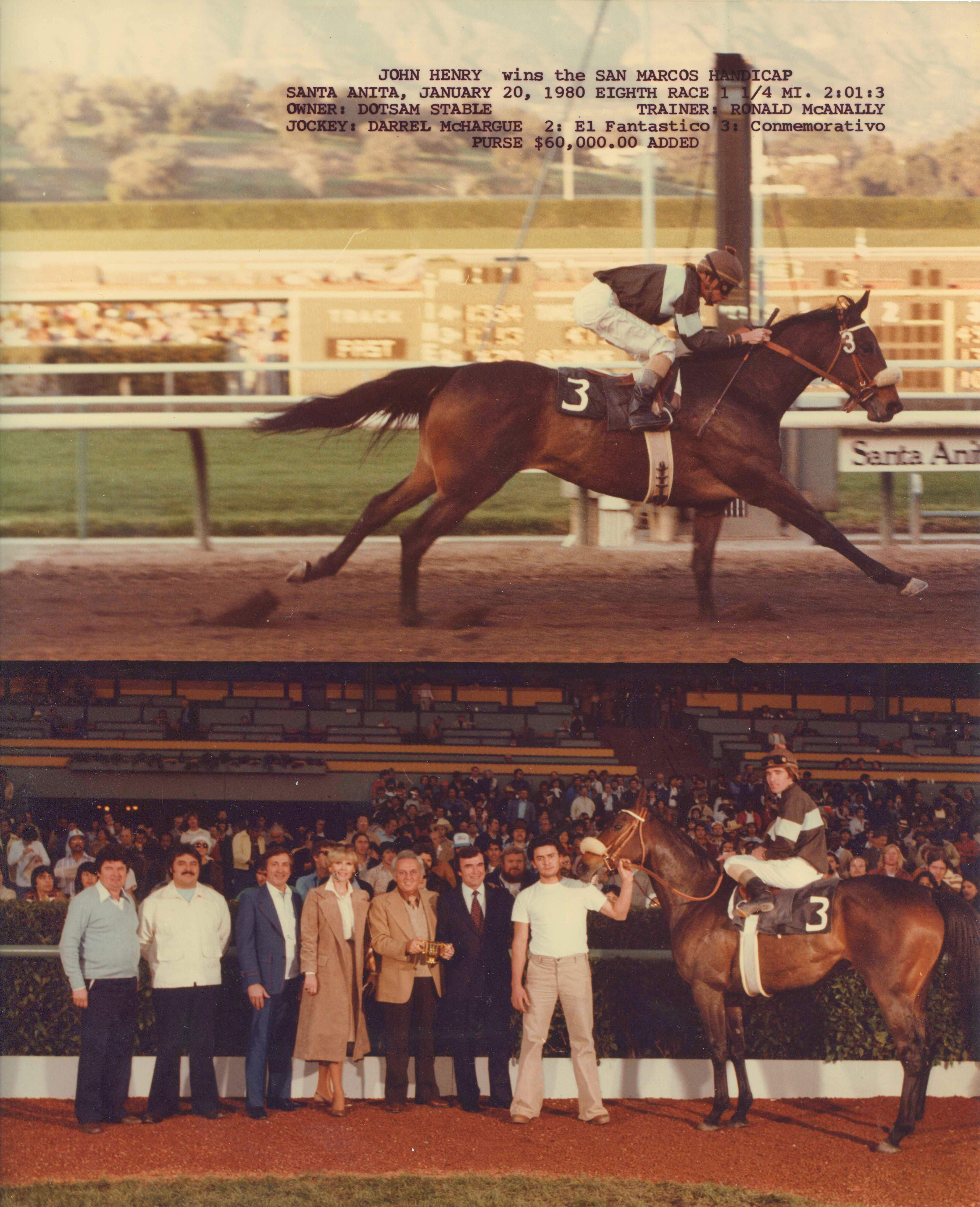Win composite photograph for the 1980 San Marcos Handicap at Santa Anita, won by John Henry (Darrel McHargue up) (Bill Mochon/Museum Collection)