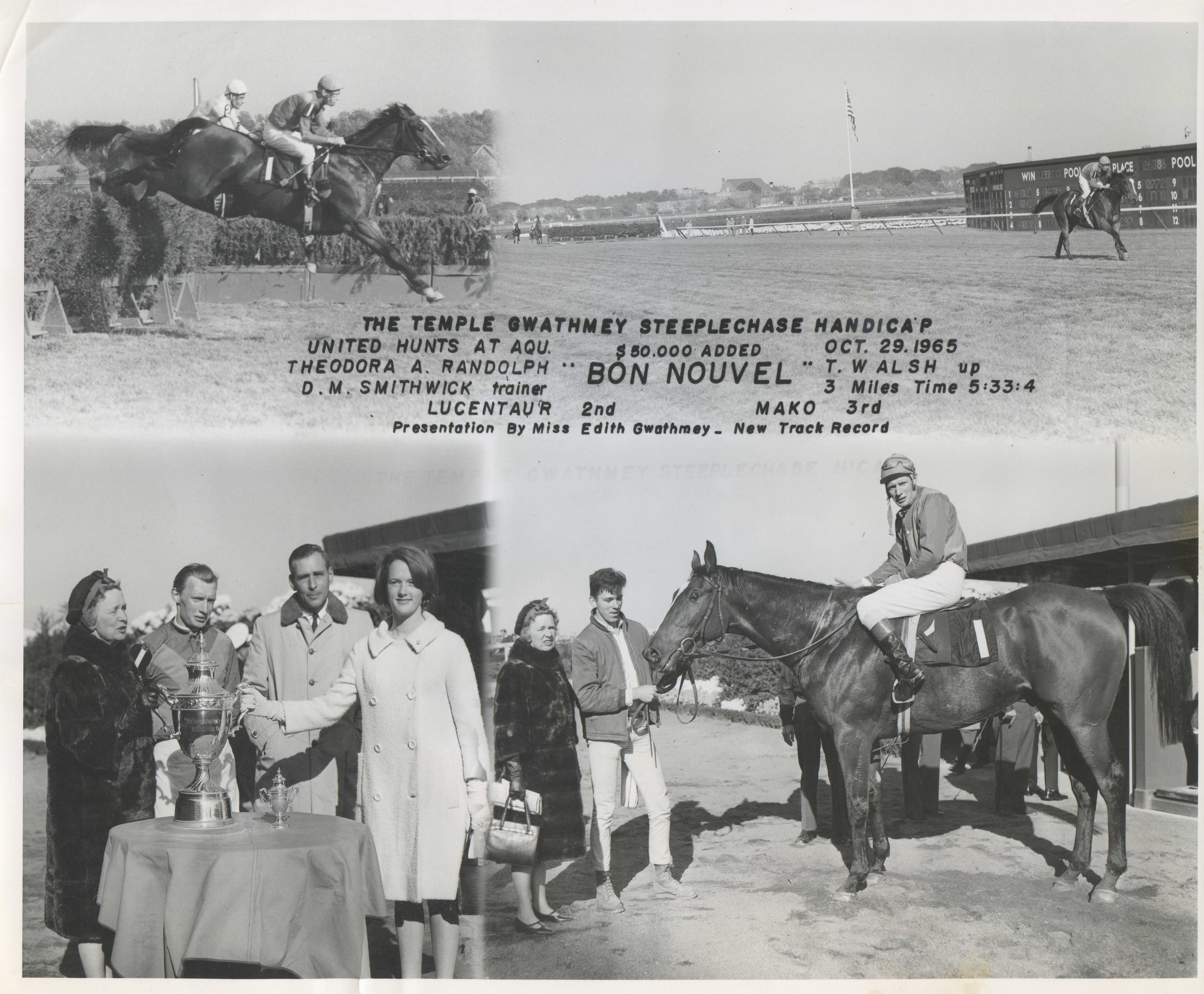 Win composite photograph for the 1965 Temple Gwathmey Steeplechase Handicap at the United Hunts at Aqueduct meet (NYRA/Museum Collection)