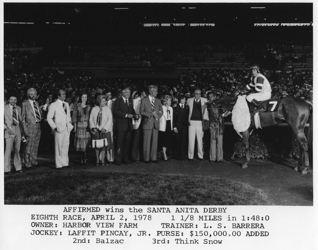 Affirmed (Steve Cauthen up) in the winner's circle for the 1978 Santa Anita Derby (Bill Mochon/Museum Collection)