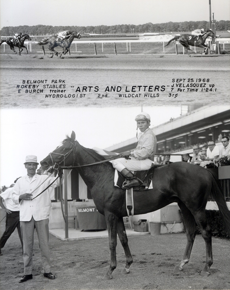 Win composite photograph for the maiden victory of Arts and Letters (Jorge Velasquez up) at Belmont Park (NYRA/Museum Collection)