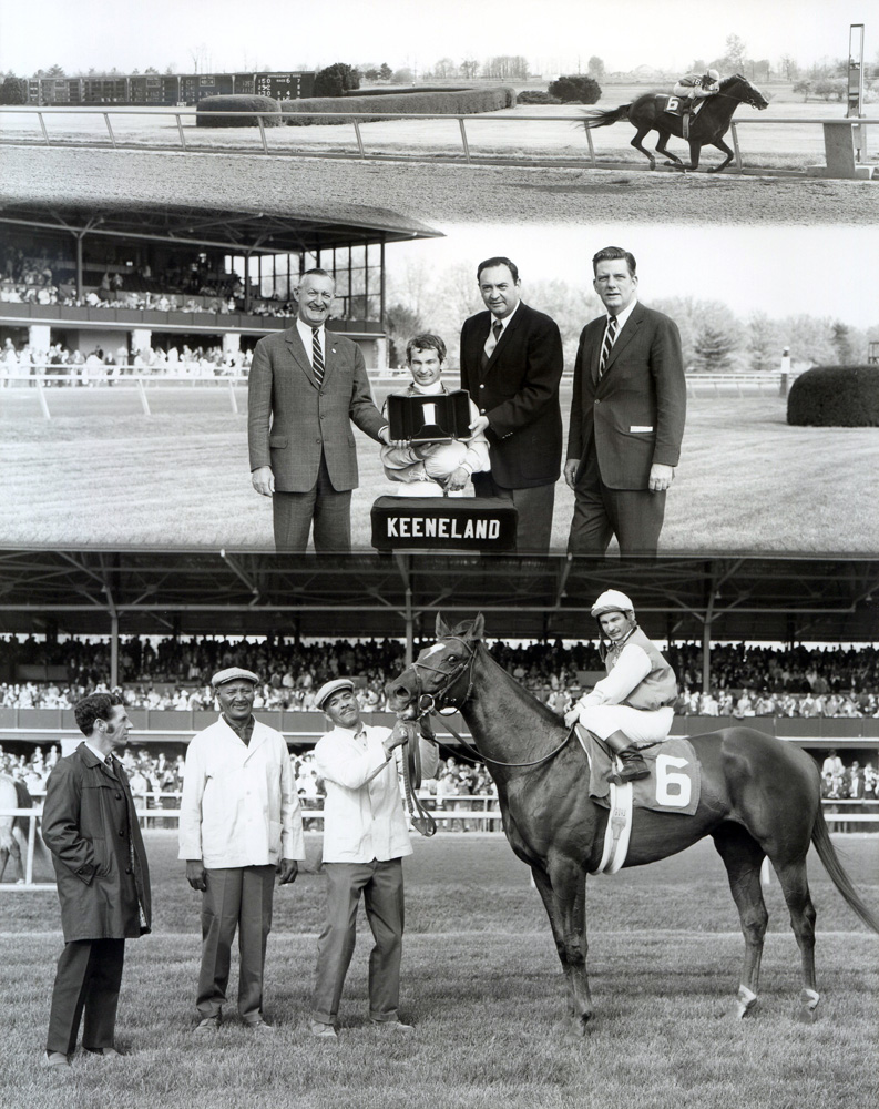 Win composite photograph for the 1969 Blue Grass Stakes at Keeneland; Arts and Letters (Bill Shoemaker up) won by 15 lengths (Keeneland Association/Museum Collection)