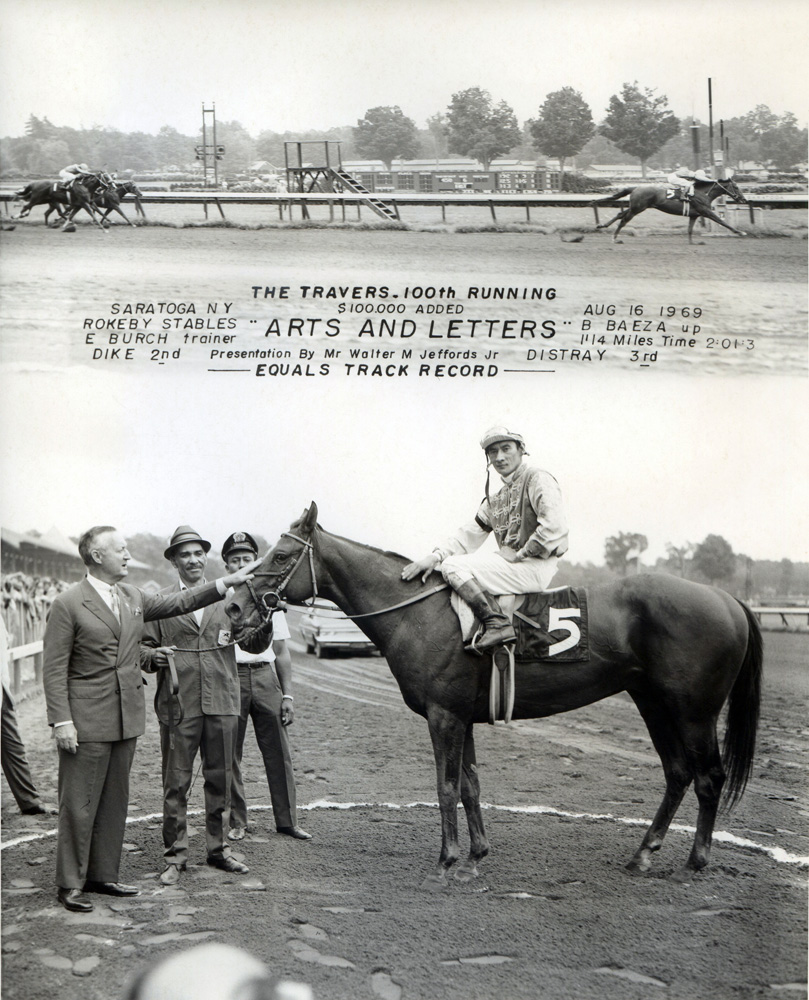 Win composite photograph for the 100th running of the Travers Stakes, won by Arts and Letters (Braulio Baeza up) (NYRA/Museum Collection)