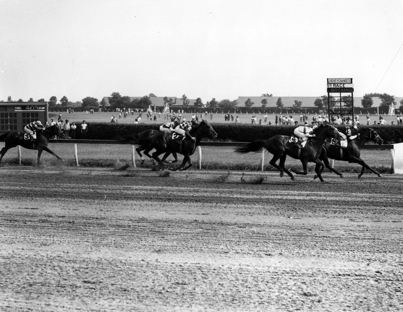 Assault (Eddie Arcaro up) winning the 1947 Butler Handicap at Jamaica Race Course (Keeneland Library Morgan Collection/Museum Collection)