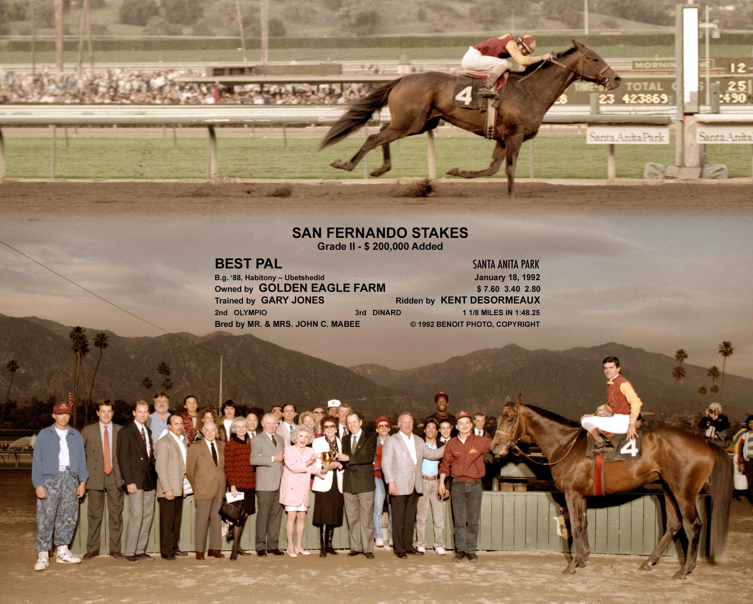 Win composite photograph for the 1992 San Fernando Stakes at Santa Anita Park, won by Best Pal (Kent Desormeaux up) (Benoit Photo)