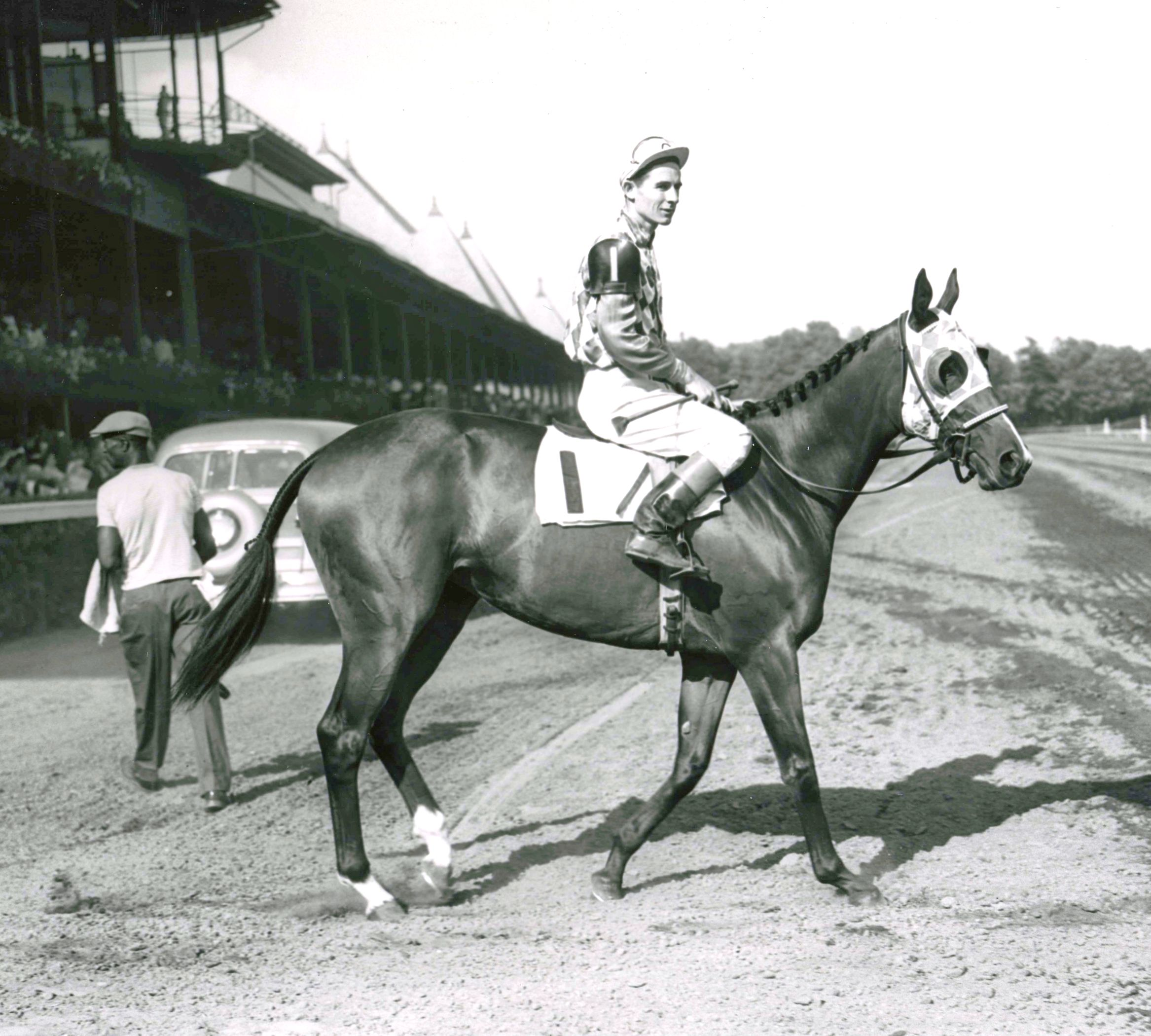 Bed o' Roses (Eric Guerin up) at Saratoga, 1949 (Keeneland Library Morgan Collection/Museum Collection)