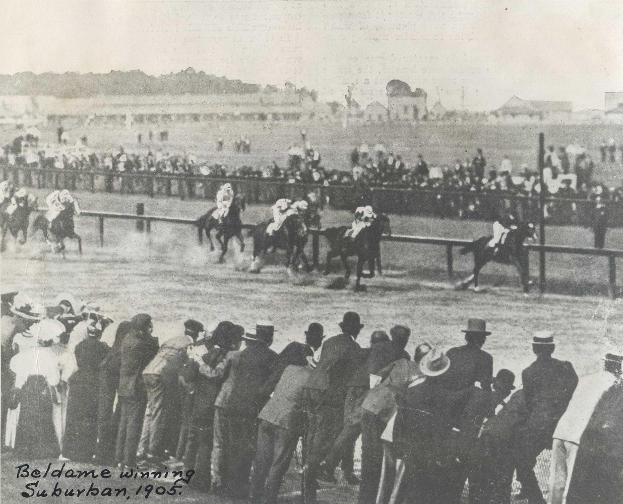 Beldame (Frank O'Neill up) winning the 1905 Suburban Handicap at Sheepshead Bay (Museum Collection)