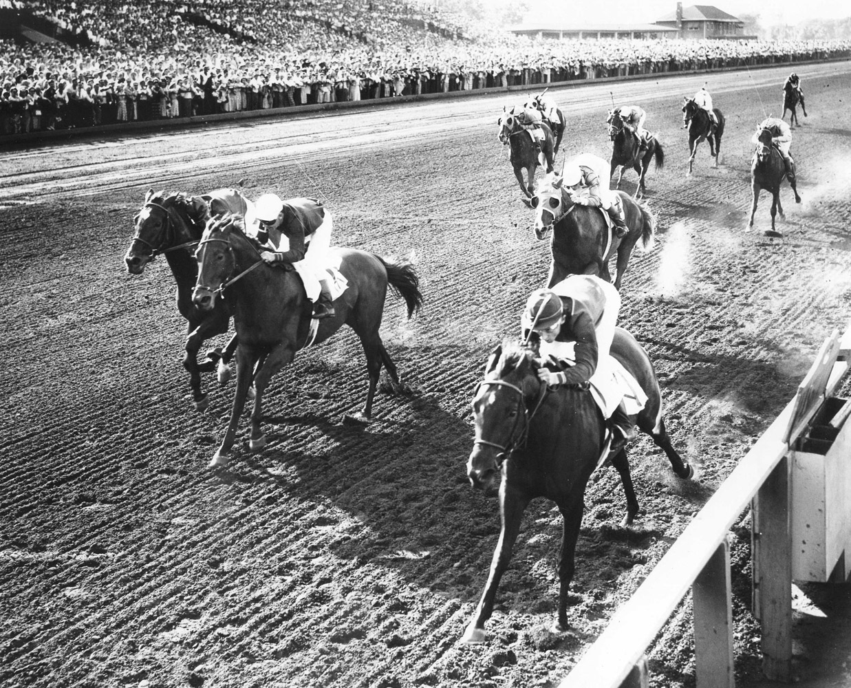 Bewitch (Doug Dodson up) defeating fellow future Hall of Famer Citation in the Washington Park Futurity (Washington Park Photo/Museum Collection)