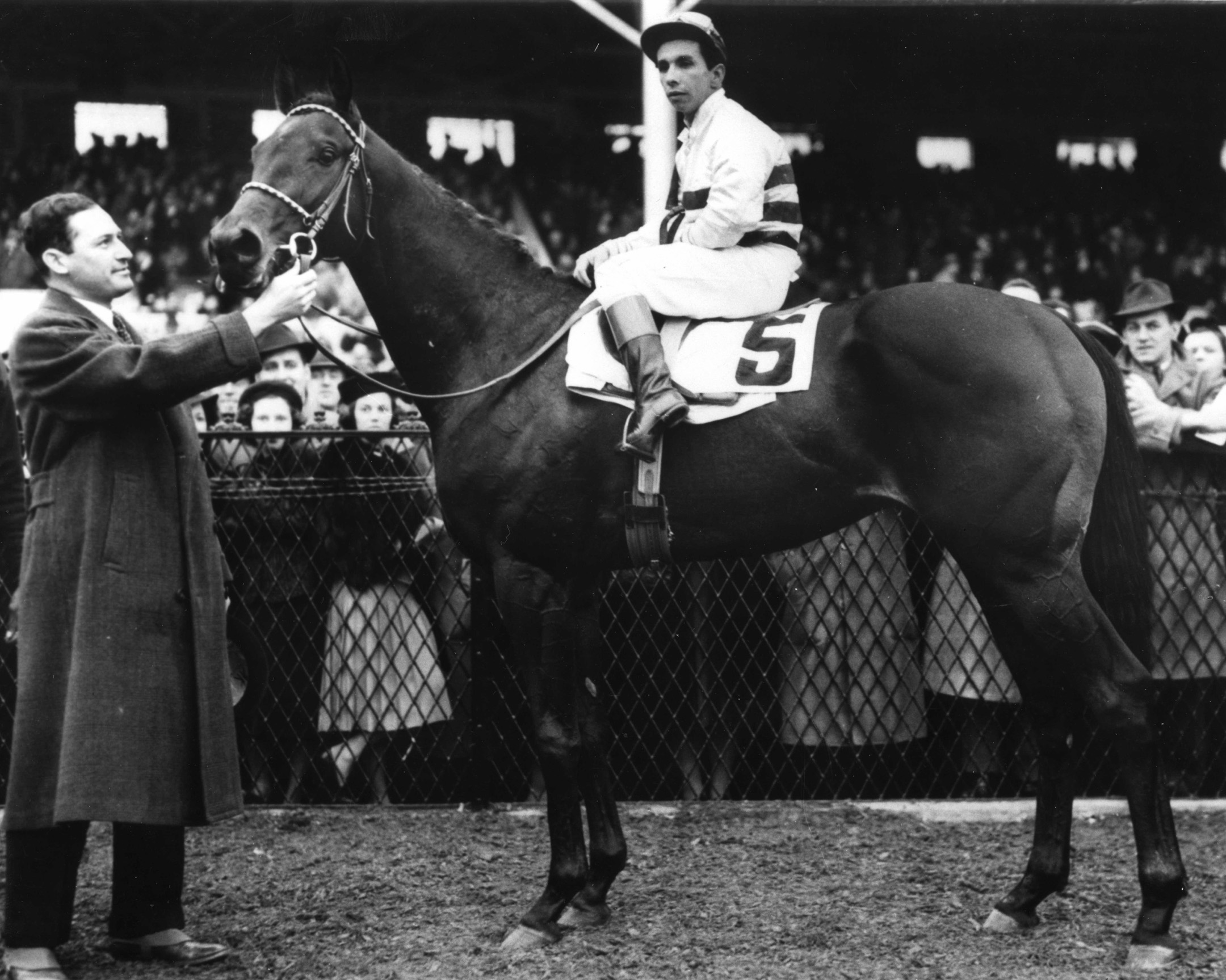 Bimelech in the winner's circle for the 1939 Pimlico Futurity (The BloodHorse/Museum Collection)