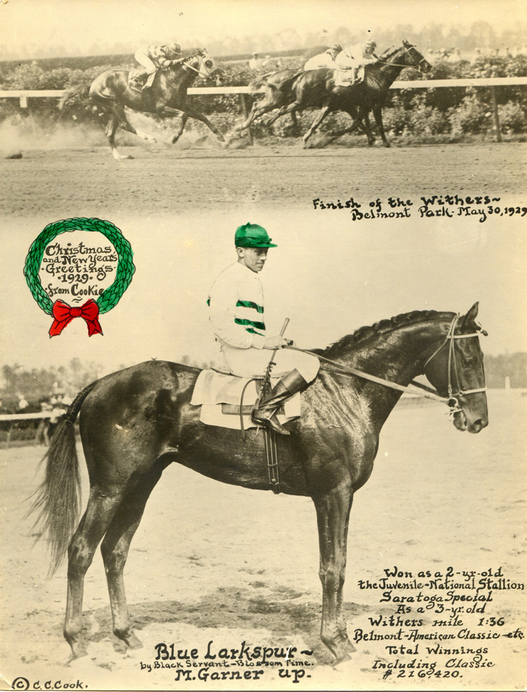Photo-greeting card produced by photographer C. C. Cook featuring Blue Larkspur (Mack Garner up) and his 1929 Withers victory (C. C. Cook/Museum Collection)