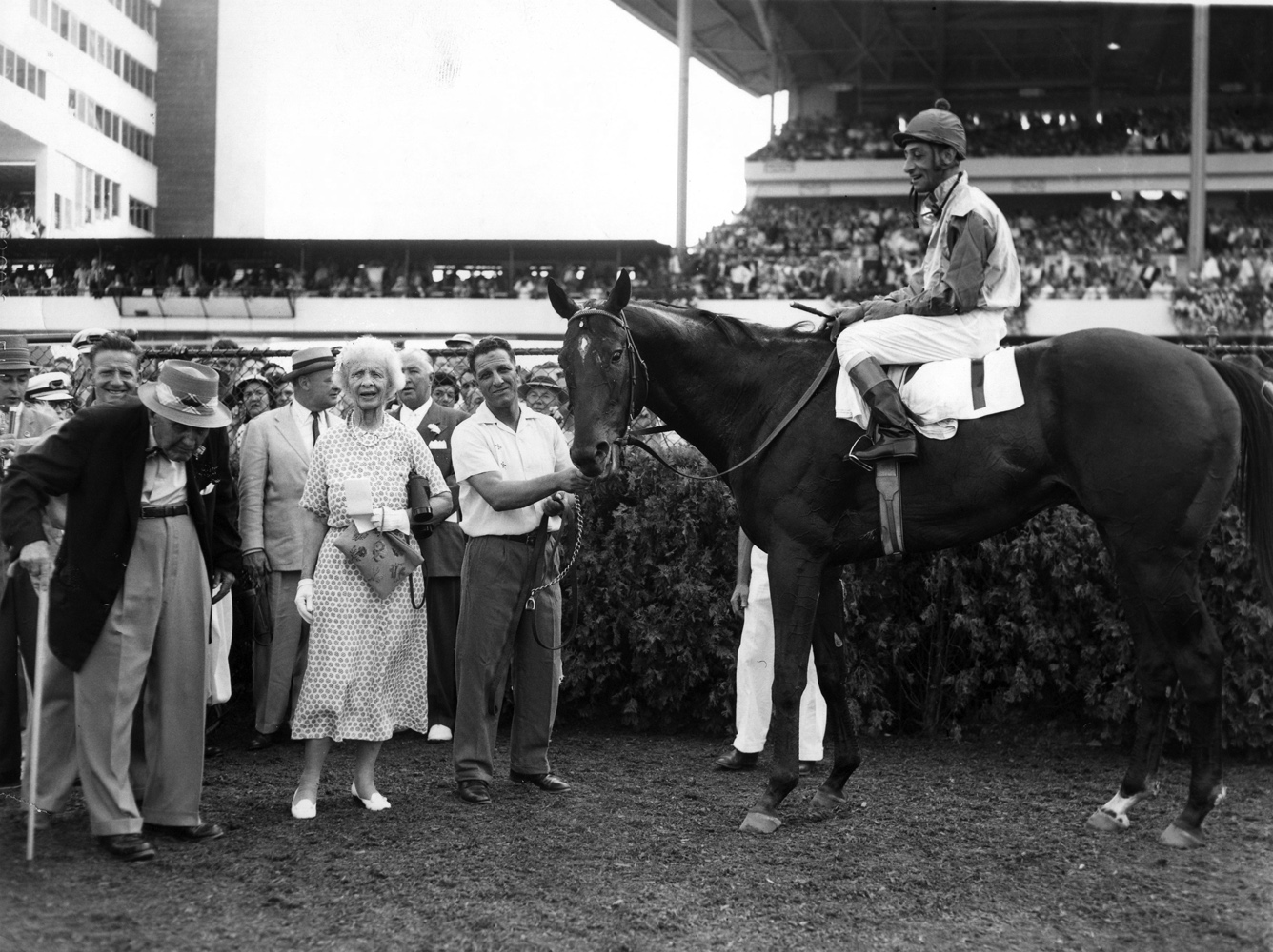 Bold Ruler (Eddie Arcaro up) in the winner's circle for the 1958 Monmouth Handicap at Monmouth Park, his final career win (Turfotos/Museum Collection)