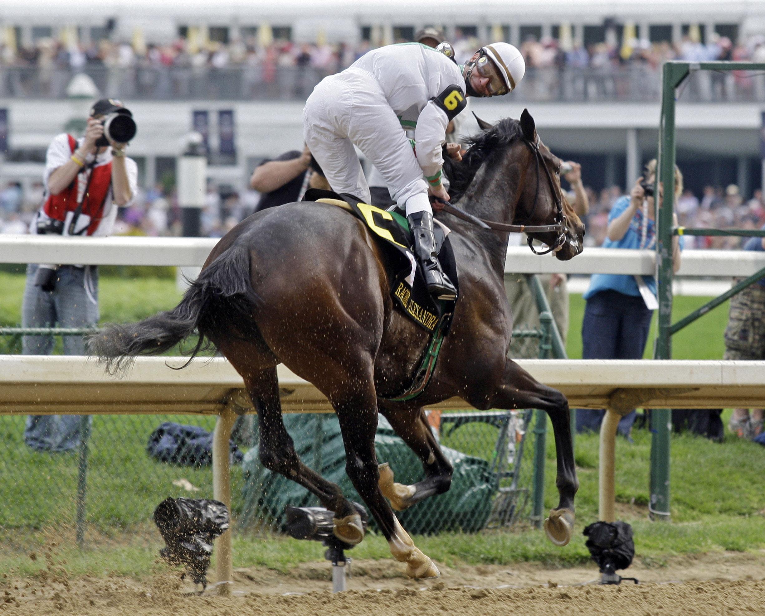 Rachel Alexandra winning the 2009 Kentucky Oaks, Calvin Borel up (Associated Press)