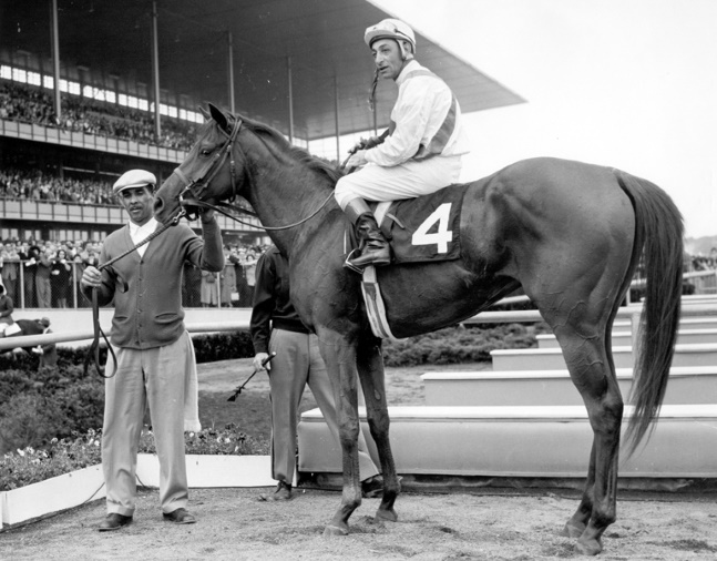 Bowl of Flowers (Eddie Arcaro up) in the winner's circle for the 1960 Frizette at Aqueduct (Bert and Richard Morgan/Museum Collection)