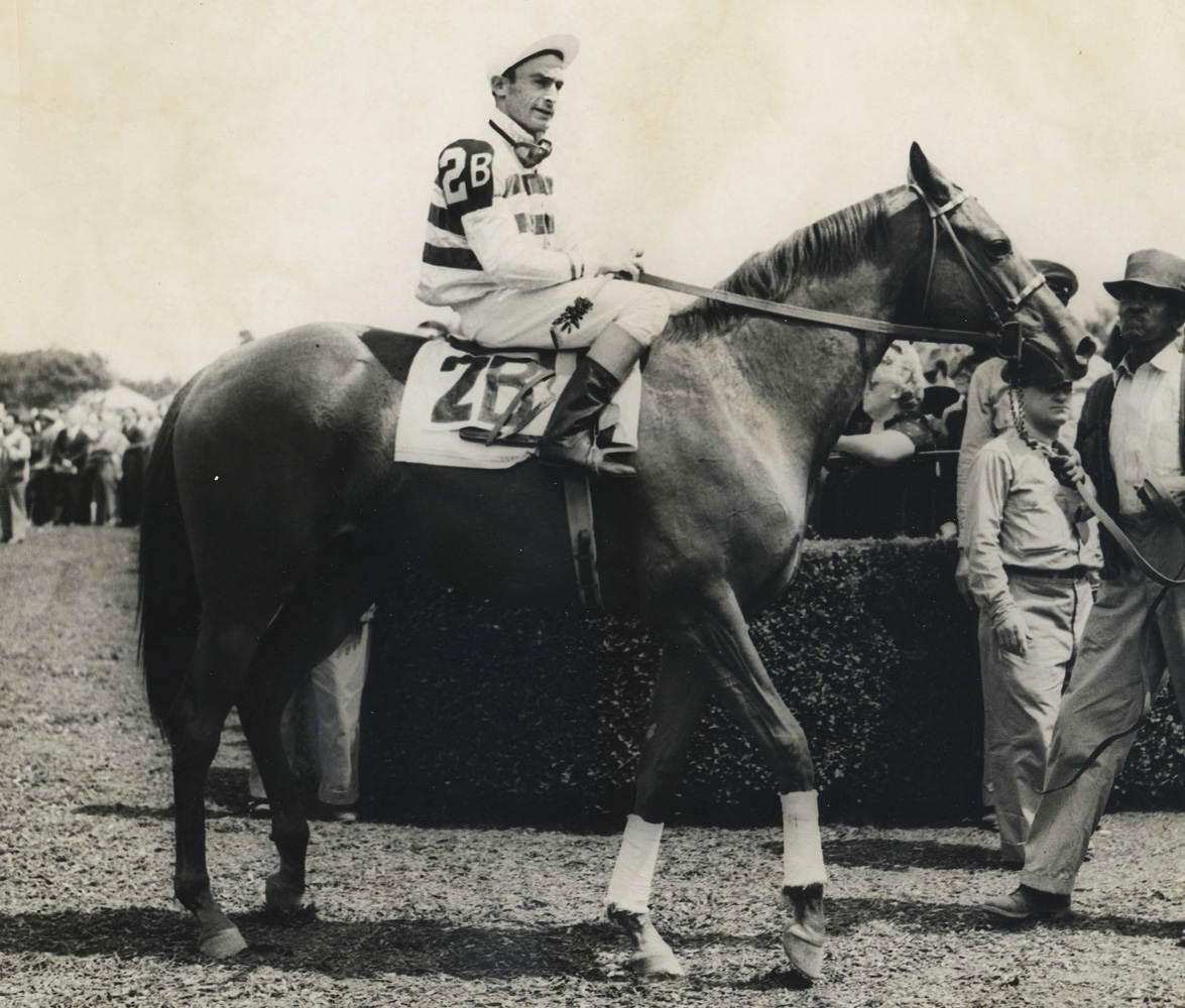 Busher (Ted Atkinson up) in her first career start at Belmont Park, May 1944 (Museum Collection)