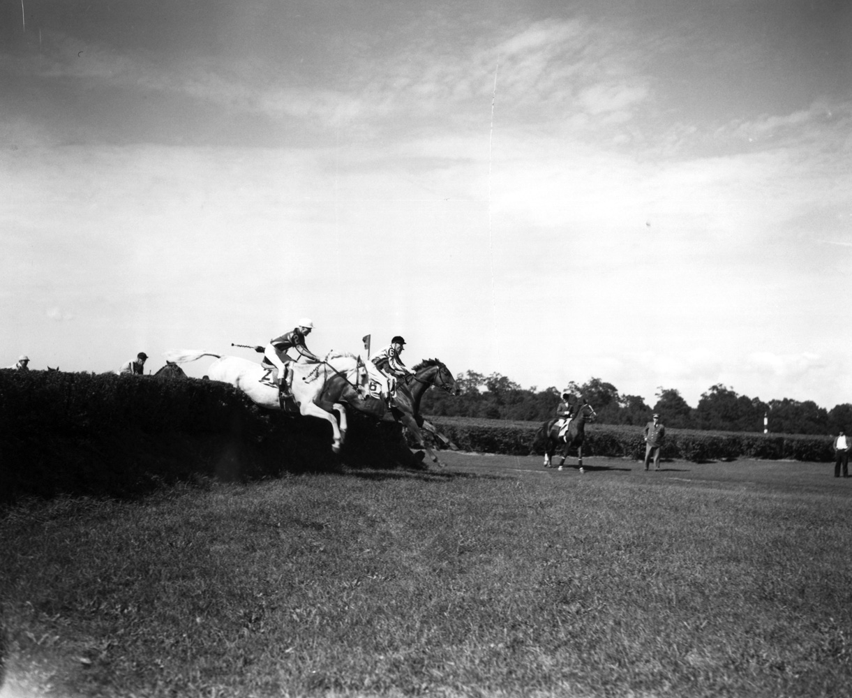 Bushranger (H. Little up) at the 1936 Brook Steeplechase Handicap at Belmont Park (Keeneland Library Morgan Collection/Museum Collection)