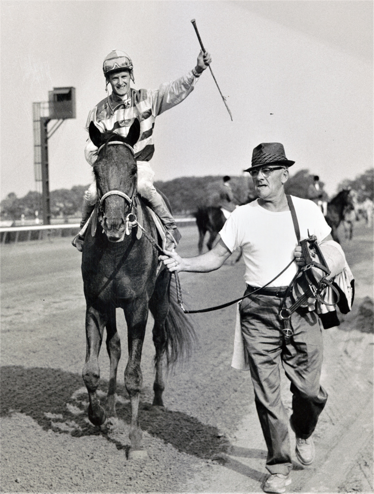 Carry Back (John Sellers up) after winning the 1961 Jerome Handicap at Aqueduct (Keeneland Library Morgan Collection)