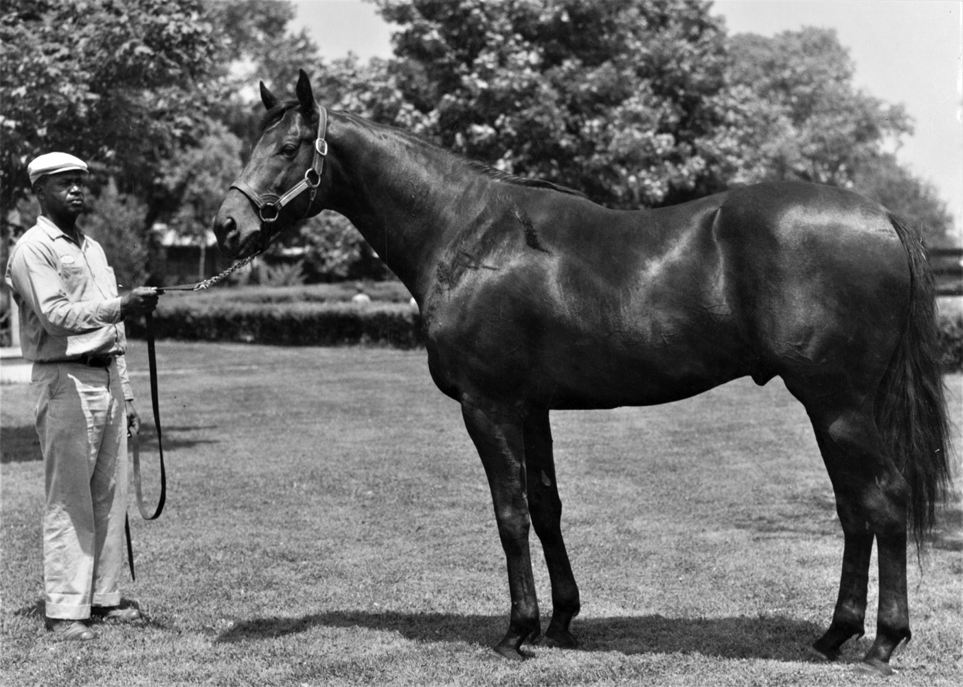 Carry Back with Oliver Holman in an undated photograph (Keeneland Library Meadors Collection)