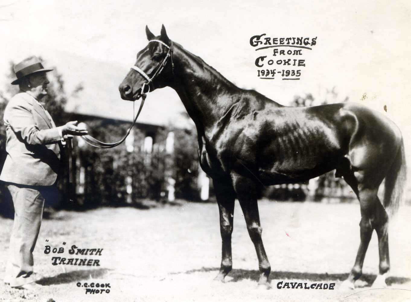 """Cavalcade and trainer Robert Smith featured in the 1934 """"Christmas Cookie"""" greeting card produced by photographer C. C. Cook (C. C. Cook/Museum Collection)"""