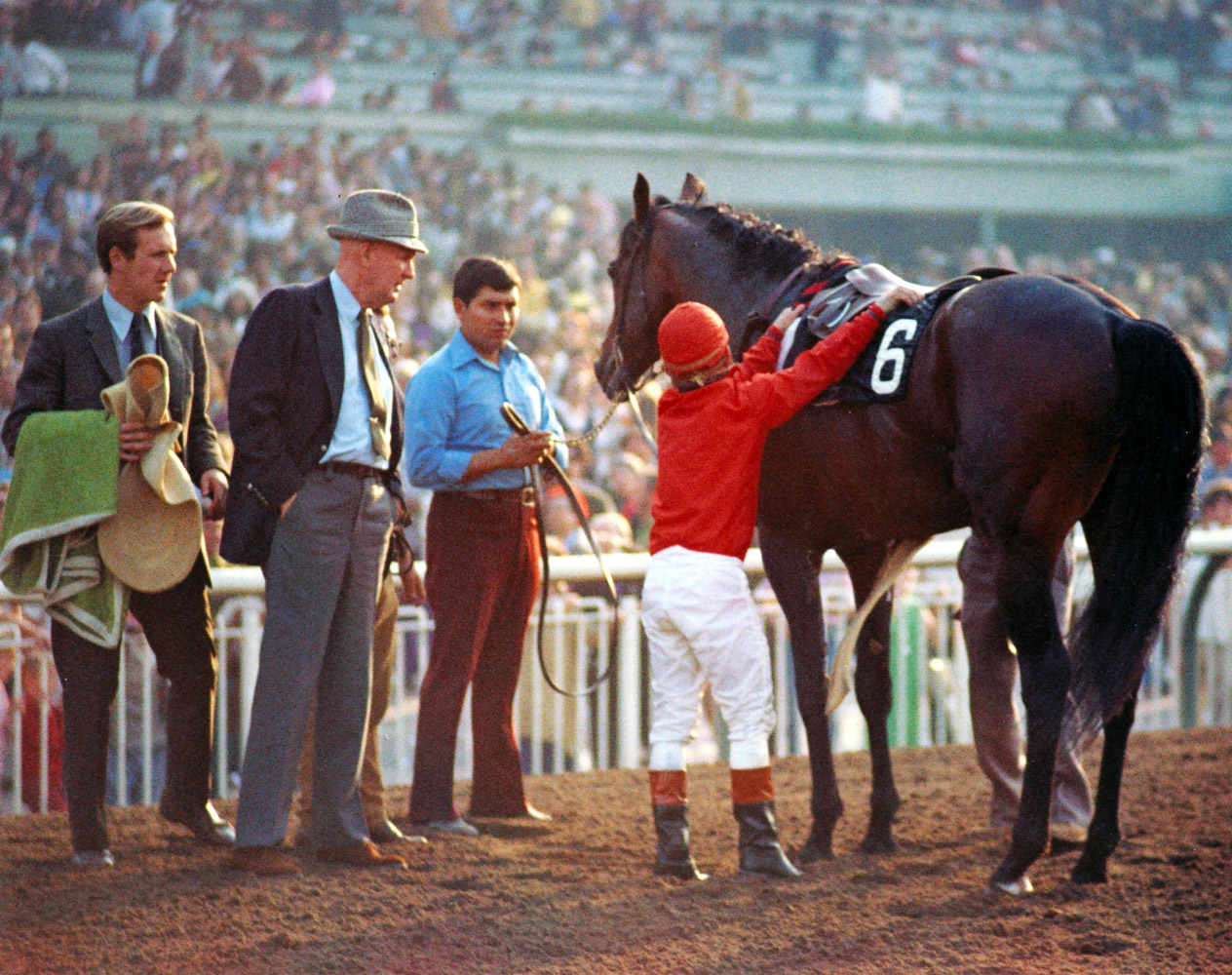 Cougar II with trainer Charlie Whittingham and jockey Bill Shoemaker after the 1973 San Juan Capistrano Handicap (Bill Mochon/Museum Collection)