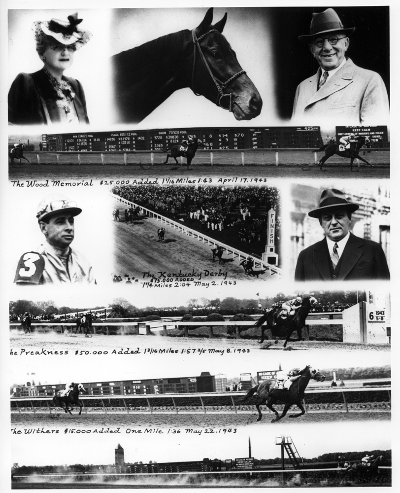 Photo collage of Count Fleet's victories in 1943 (Wood Memorial, Kentucky Derby, Preakness, Withers, Belmont Stakes) (Keeneland Library Morgan Collection/Museum Collection)