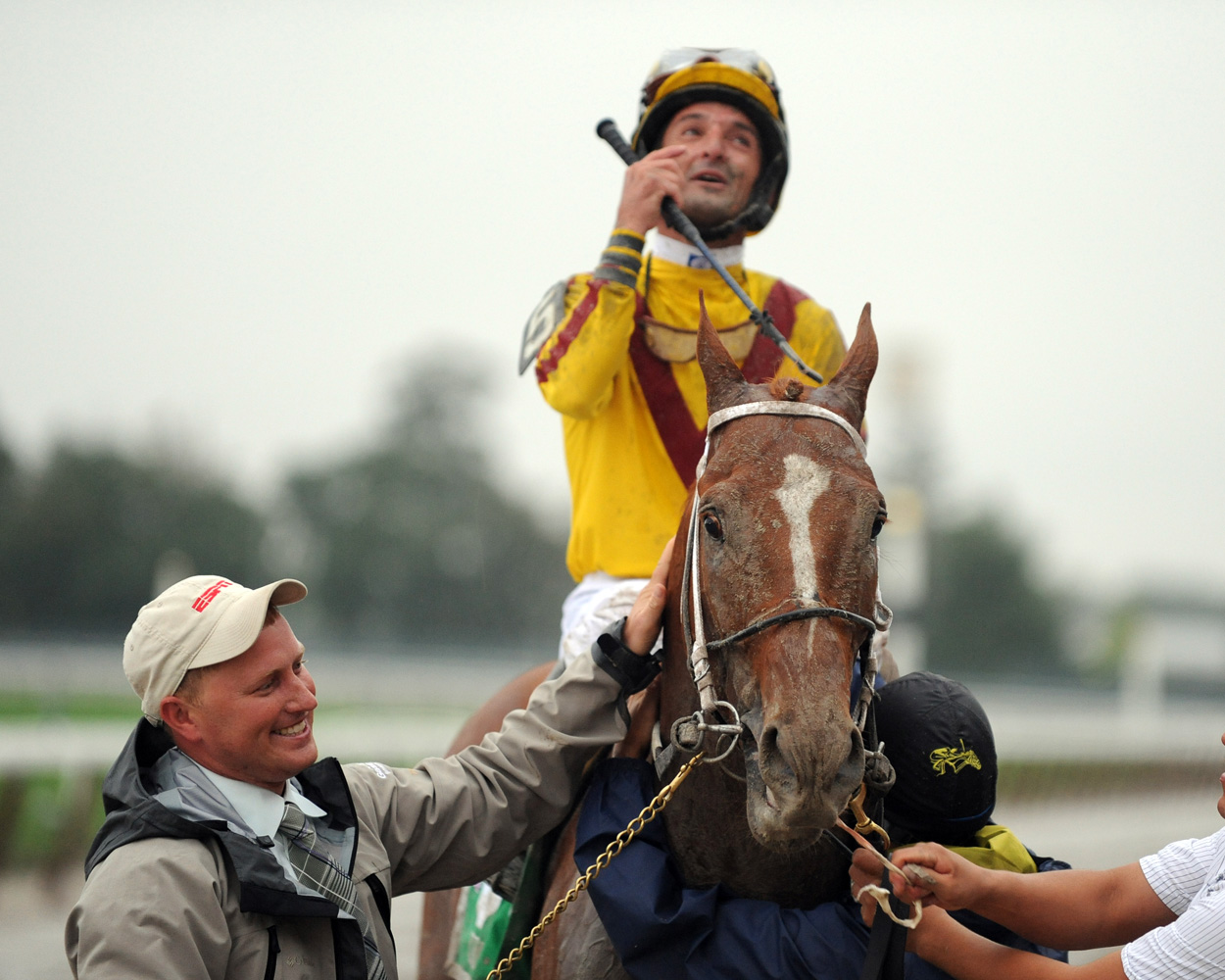 Curlin and Robby Albarado after winning their second consecutive Jockey Club Gold Cup (NYRA)