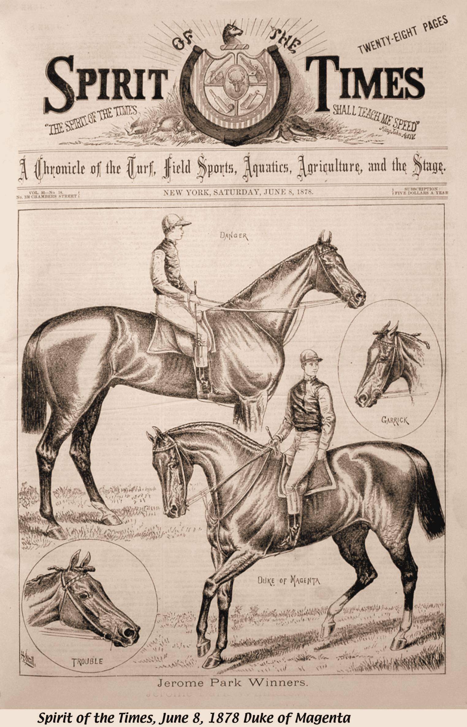 """Illustration of Duke of Magenta (on right) from the June 8, 1878 issue of """"The Spirit of the Times"""" (Keeneland Library Collection)"""