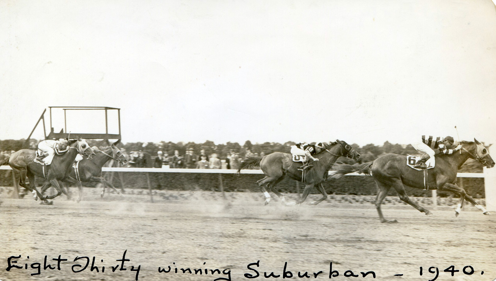 Eight Thirty (Harry Richards up) winning the 1940 Suburban at Belmont Park (Bert Morgan/Museum Collection)