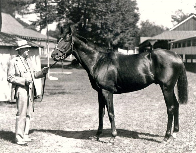 Equipoise with trainer Thomas J. Healey at Saratoga (Keeneland Library Cook Collection/Museum Collection)