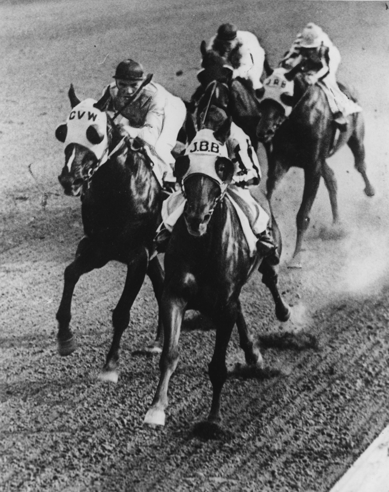 Equipoise (on the outside) racing down the stretch (Museum Collection)