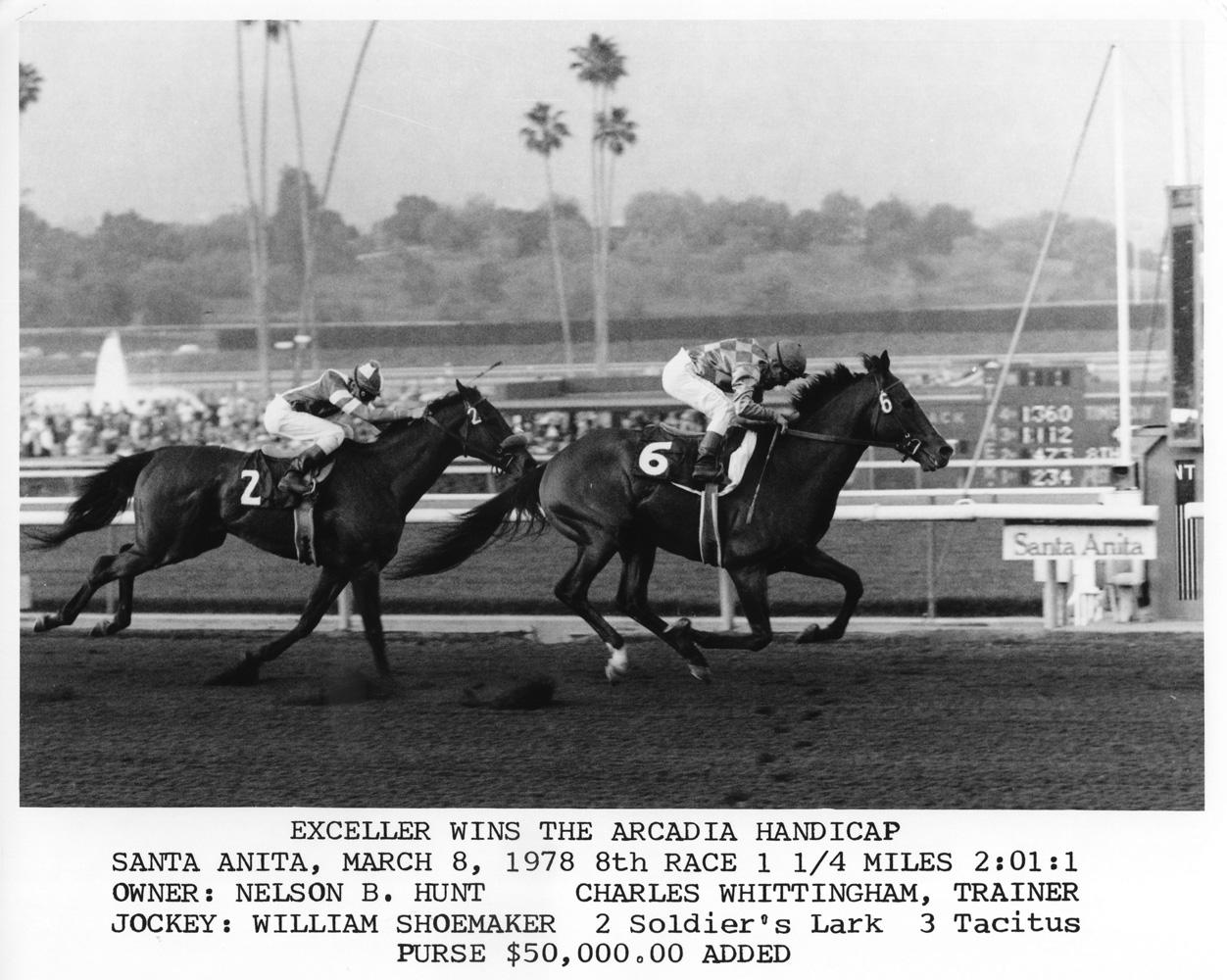 Exceller (Bill Shoemaker up) winning the 1978 Arcadia Handicap at Santa Anita (Bill Mochon/Museum Collection)