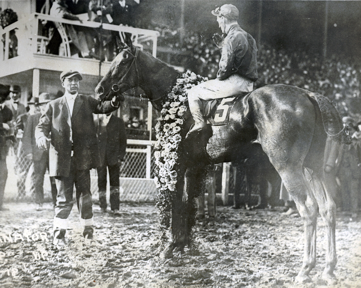 Exterminator (Willie Knapp up) in the winner's circle for the 1918 Kentucky Derby (Museum Collection)