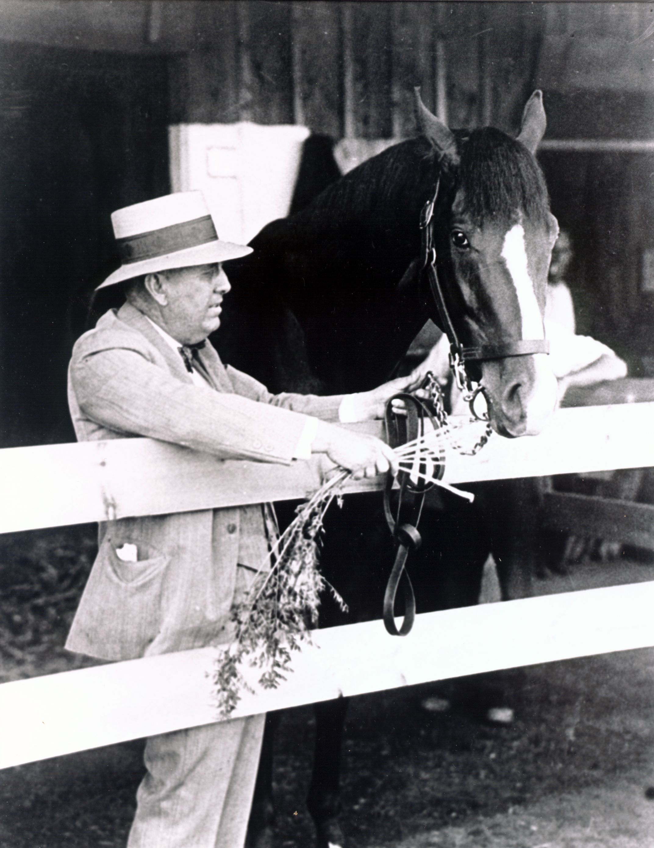 "Gallant Fox with trainer James ""Sunny Jim"" Fitzsimmons (Museum Collection)"