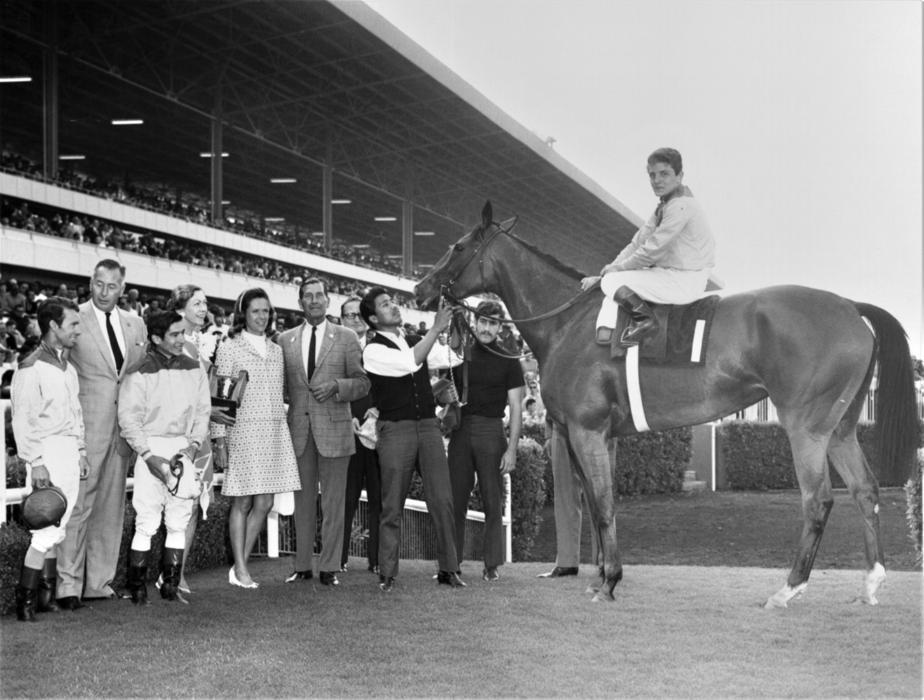 Gamely (Wayne Harris up) in the winner's circle for the 1968 Vanity Handicap at Hollywood Park (Keeneland Library Thoroughbred Times Collection)