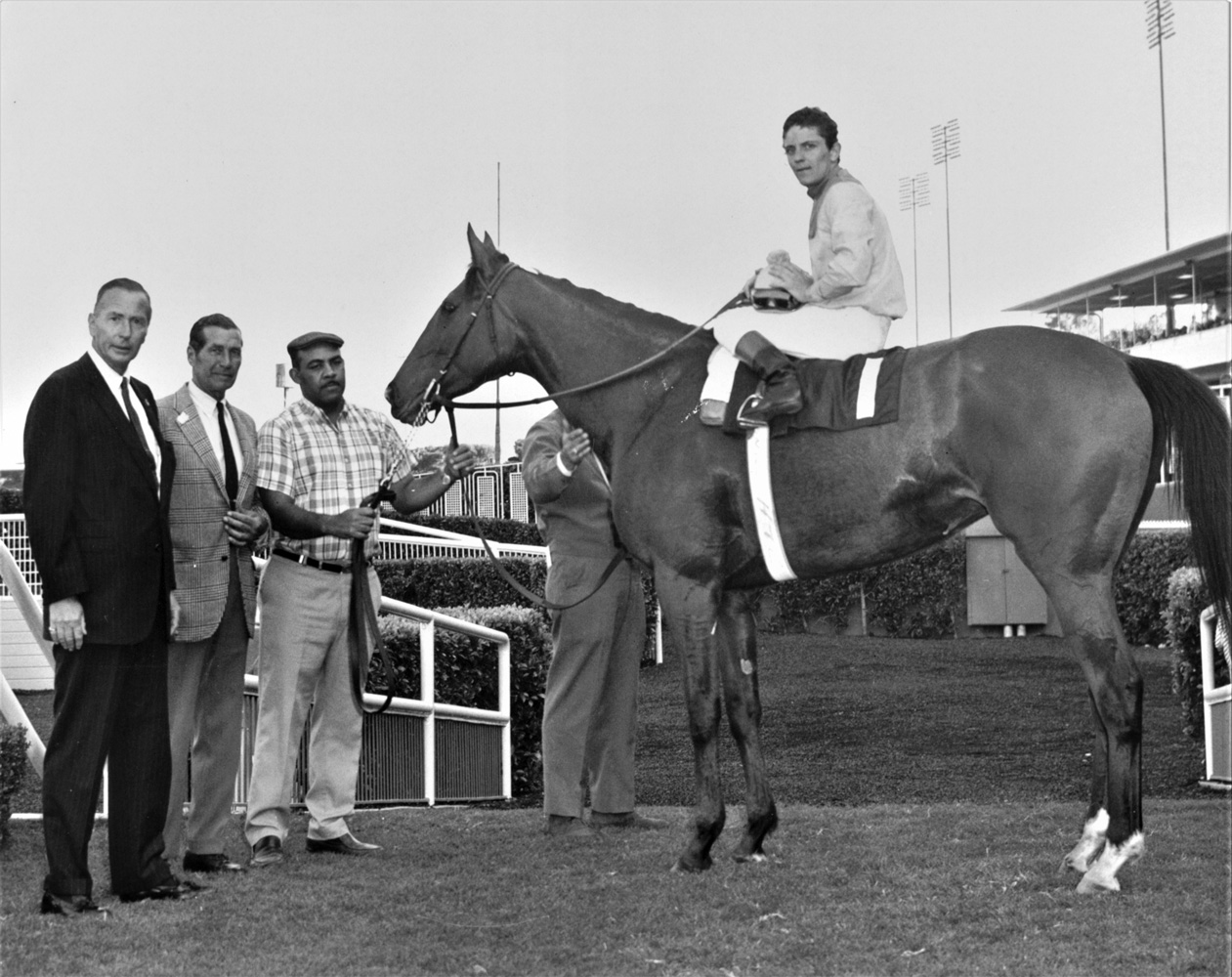 Gamely (Wayne Harris up) in the winner's circle for the 1969 Wilshire Handicap at Hollywood Park (Keeneland Library Thoroughbred Times Collection)