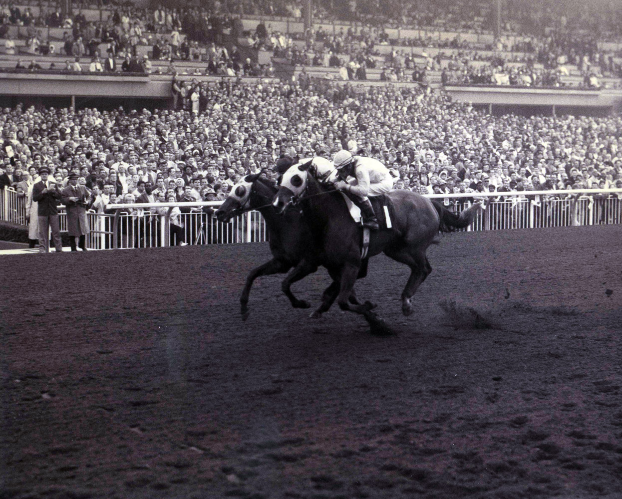 Gamely (Manuel Ycaza up) winning the 1968 Santa Margarita Handicap at Santa Anita by a nose (Santa Anita Photo/Museum Collection)