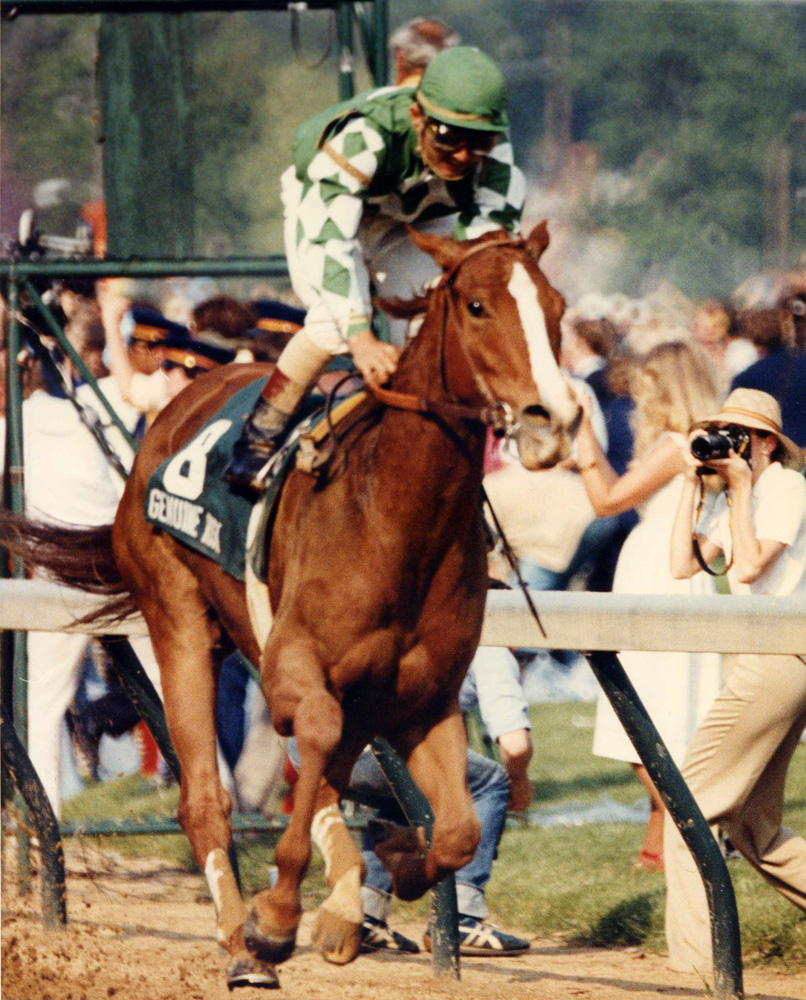Genuine Risk (Jacinto Vasquez up) winning the 1980 Kentucky Derby, becoming the second filly in history to win the race (Churchill Downs Inc./Kinetic Corp. /Museum Collection)