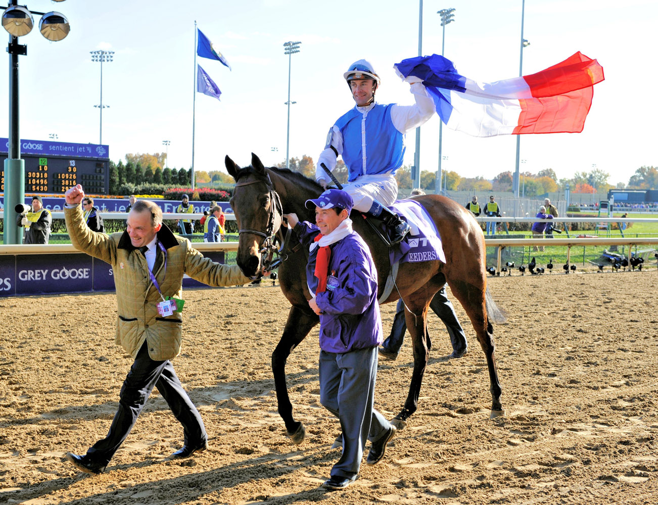 Goldikova and her connections celebrate her third consecutive Breeders' Cup Mile victory at Churchill Downs in November 2010 (Breeders' Cup Photo)