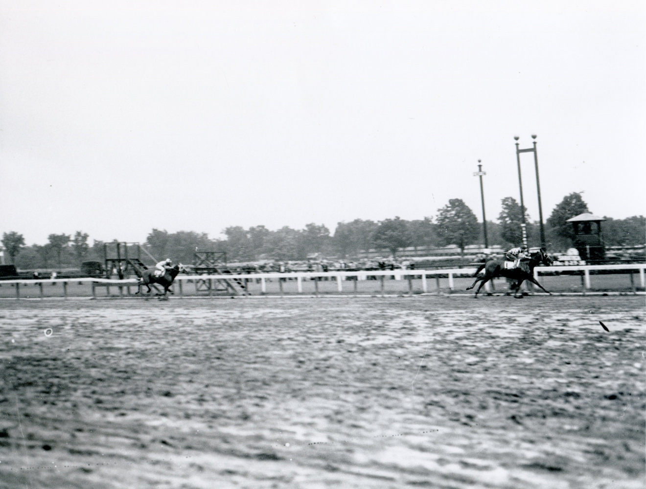 Granville (James Stout up) defeating Discovery in the 1936 Saratoga Cup by eight lengths (Keeneland Library Cook Collection/Museum Collection)