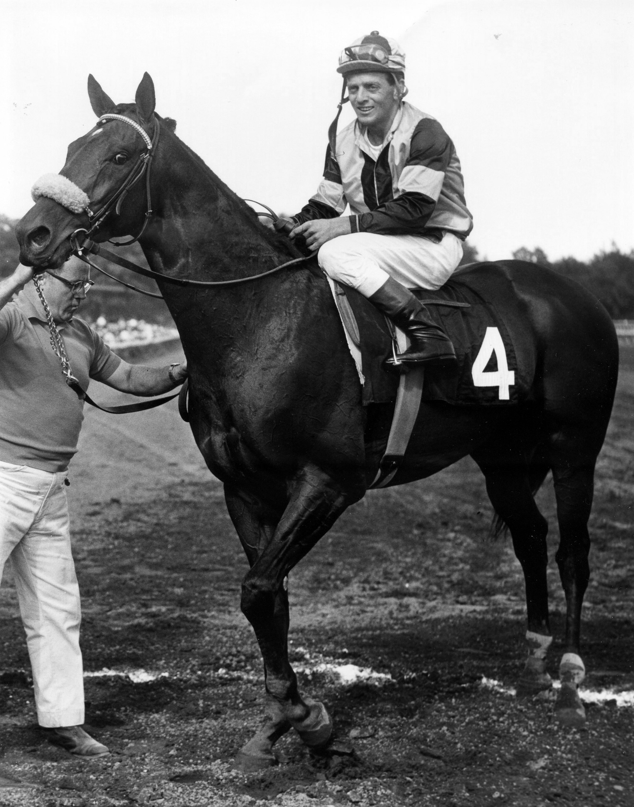 Gun Bow (Walter Blum up) in the winner's circle for the 1964 Whitney at Saratoga (Bob Coglianese/Museum Collection)