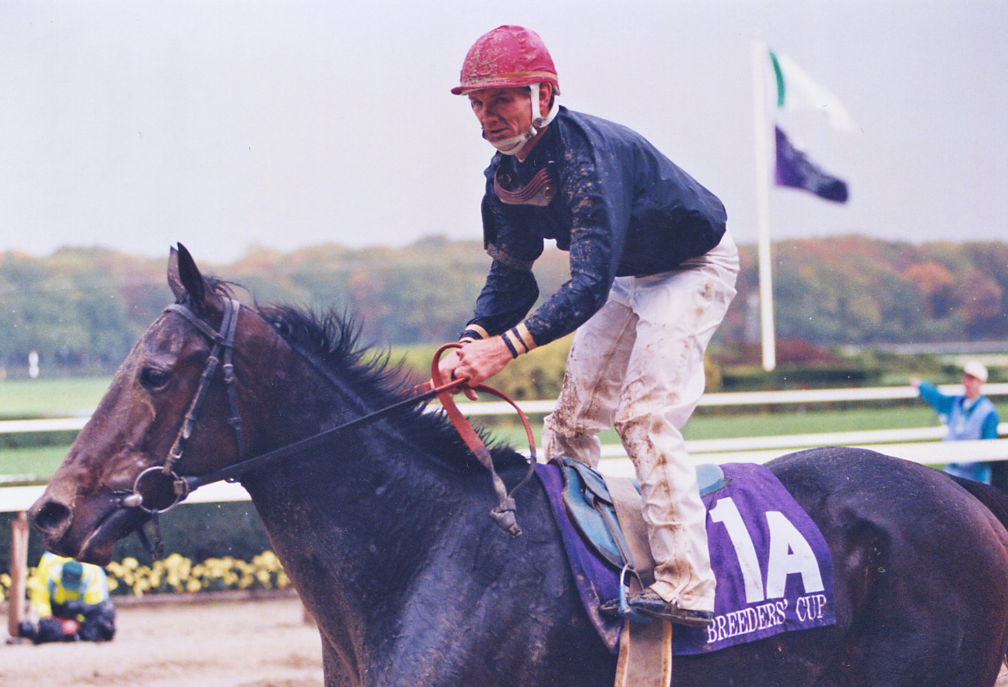Heavenly Prize and Pat Day after the 1995 Breeders' Cup Distaff at Belmont Park (Russ Melton)
