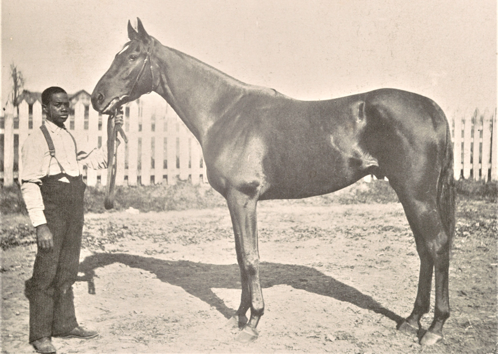 "Photograph of Henry of Navarre with unindentified handler from ""The American Turf"" (Keeneland Library Collection)"