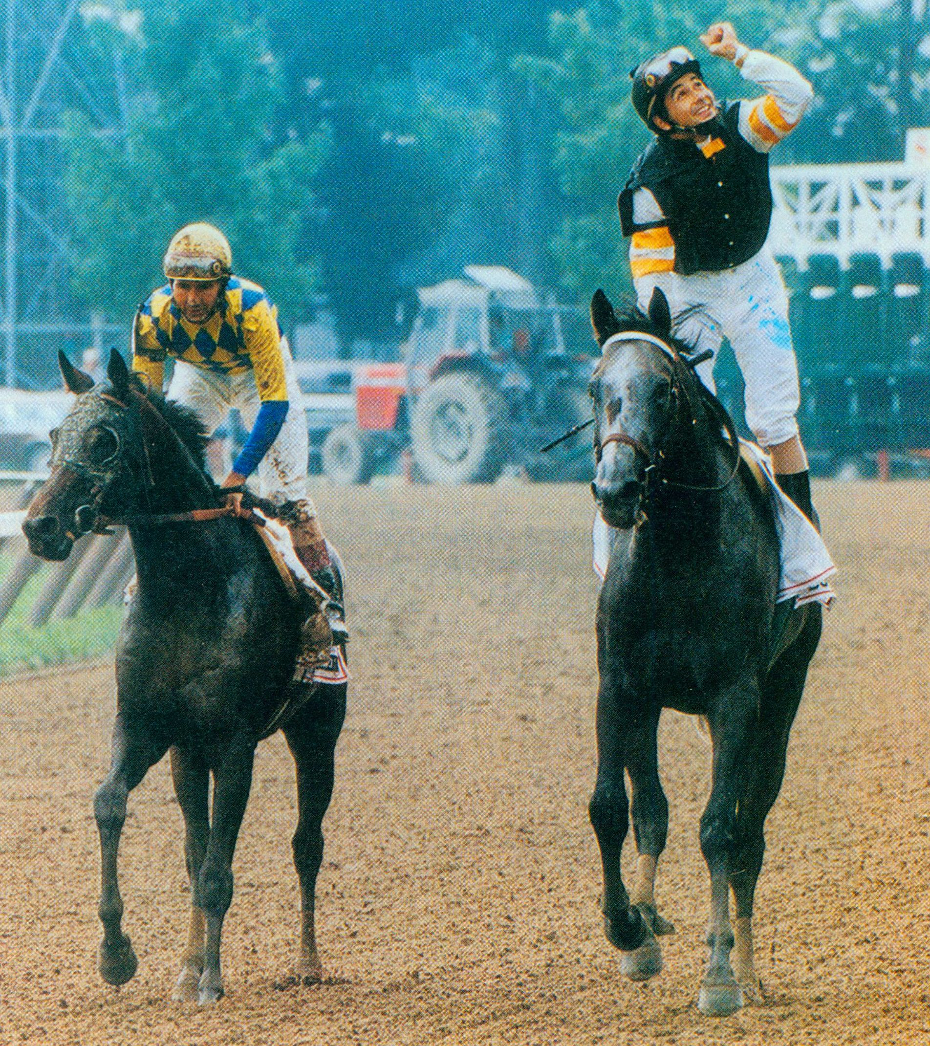 Holy Bull, Mike Smith up, after winning the 1994 Travers Stakes (Skip Dickstein)