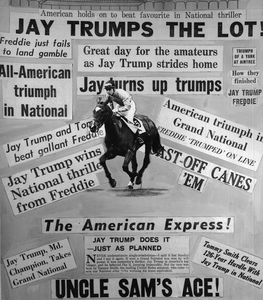 Collage featuring news headlines following Jay Trump's British Grand National victory (Winants Bros, Inc./Museum Collection)