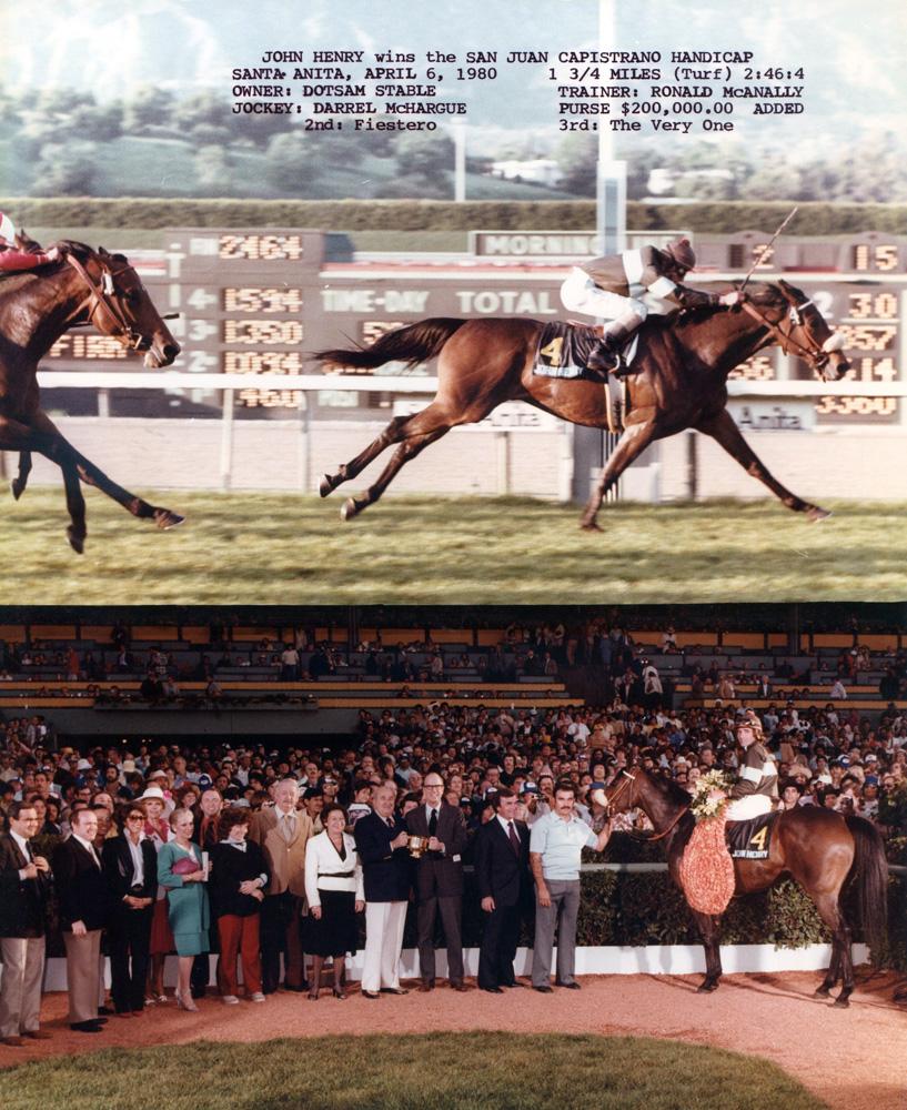 Win composite photograph for the 1980 San Juan Capistrano Handicap at Santa Anita, won by John Henry (Darrel McHargue up) (Bill Mochon/Museum Collection)